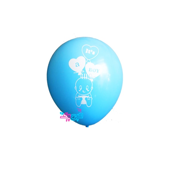 baby white on blue latex balloon-