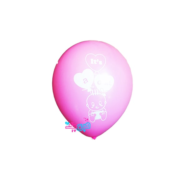 pink with baby white latex balloon-