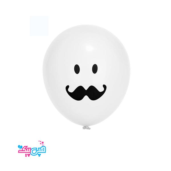 Mustache white latex ballon