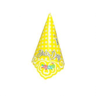 کلاه تم زرد خال سفید