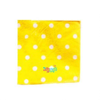 دستمال تم زرد خال سفید