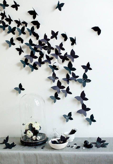 پروانه های مقوایی تم تولد سفید و مشکی