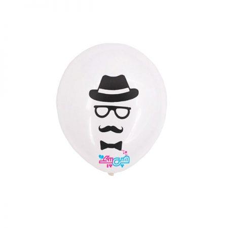بادکنک سبیل و کلاه سفید