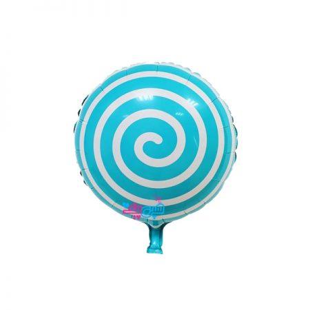 بادکنک آبنباتی مارپیچ آبی روشن