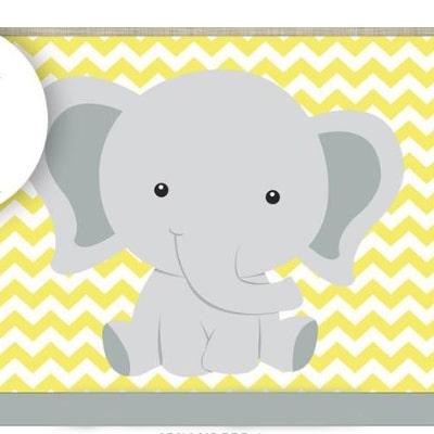 جشن تولد با فیل های زرد و طوسی