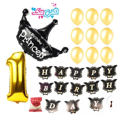 pakaje black crown with number-
