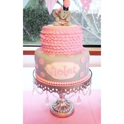 کیک تم تولد فیل دخترانه-