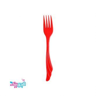 چنگال قرمز پلاستیکی